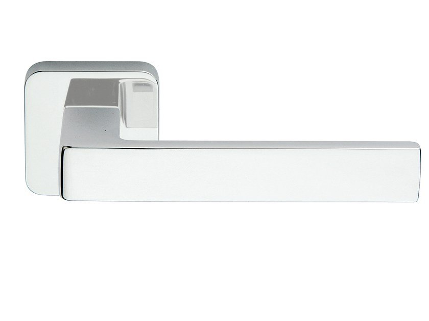 Zamak door handle on rose polished chrome ICE Q | Door handle by Frascio