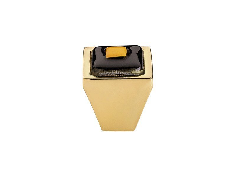 Contemporary style with glass insert brass Furniture knob BRERA SQUARE | With glass insert Furniture knob by LINEA CALI'