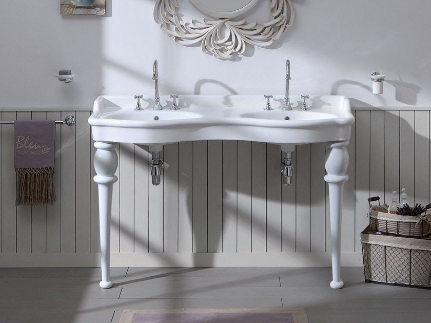 Lavabo A Consolle In Ceramica.Provence 800 Lavabo Doppio By Bleu Provence