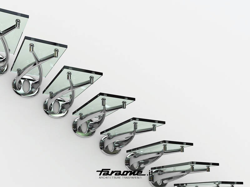 Glass and Stainless Steel cantilevered staircase TWIN by FARAONE