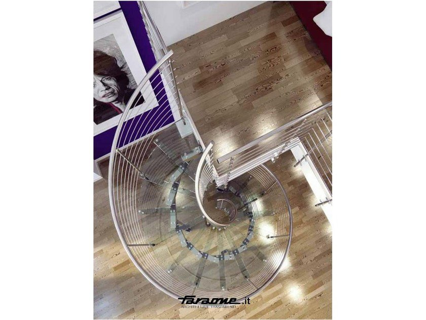 Glass and aluminium Spiral staircase MISTRAL by FARAONE