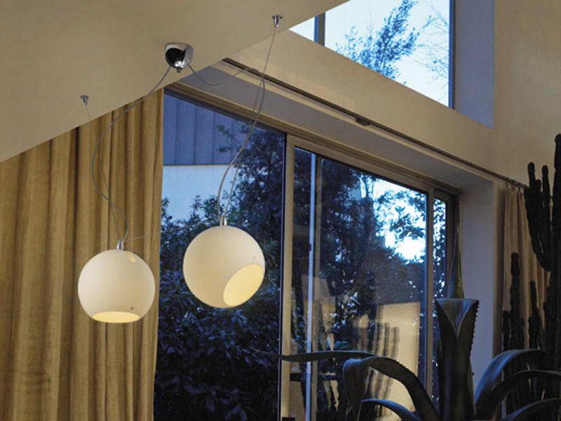 Satin glass pendant lamp SPHERE SP D2 by Vetreria Vistosi