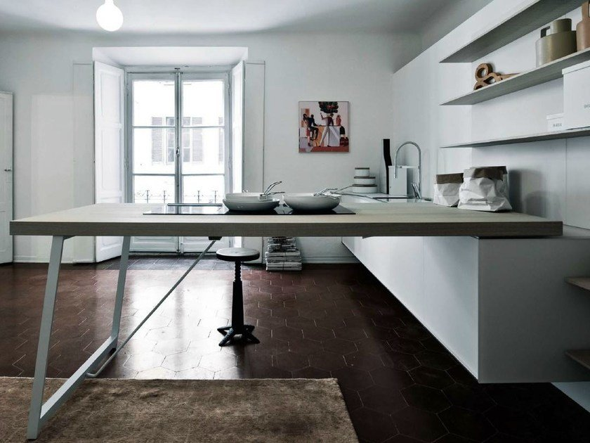 Kitchen with peninsula without handles KALEA - COMPOSITION 8 by Cesar Arredamenti