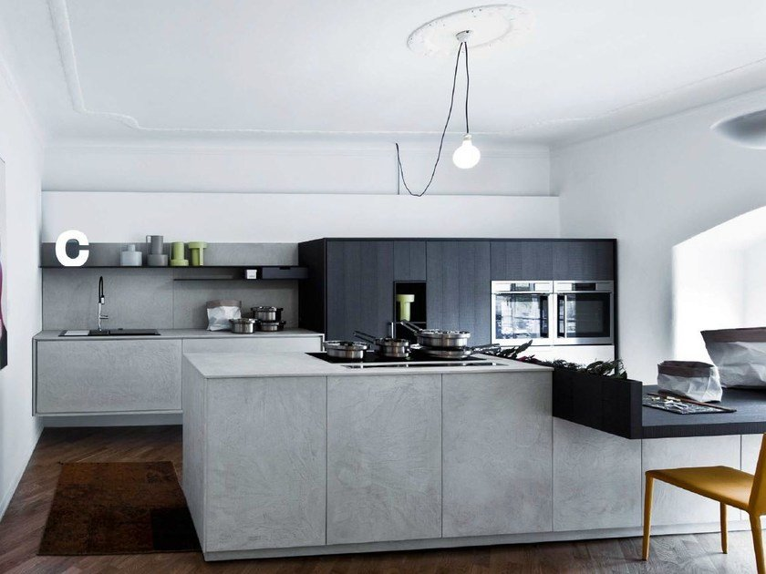 Kitchen with island without handles KALEA - COMPOSITION 9 by Cesar Arredamenti