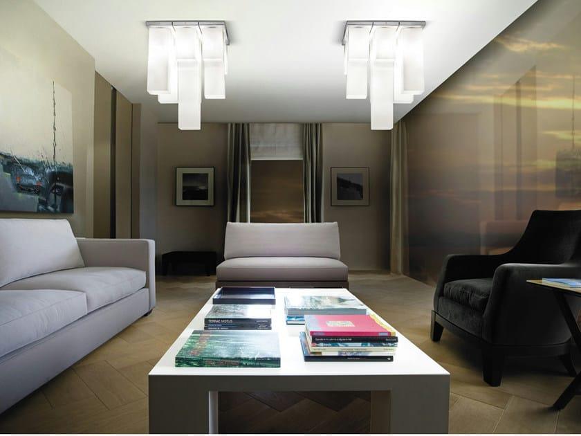 Lámpara de techo de vidrio soplado TUBES PL 9 by Vetreria Vistosi
