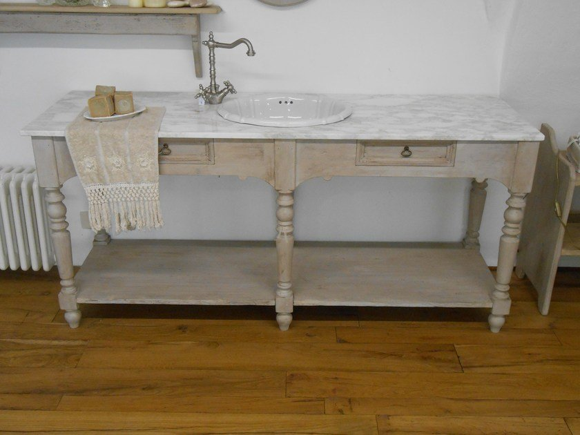 Wooden vanity unit BASILIC by BLEU PROVENCE