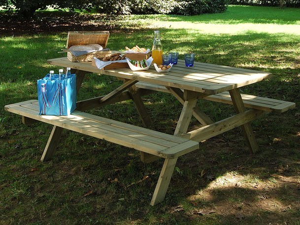 Wooden picnic table with integrated benches BELLAVISTA by Legnolandia