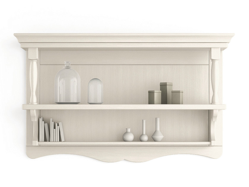 Open wooden wall cabinet with shelves TABIÀ | Open wall cabinet by Scandola Mobili