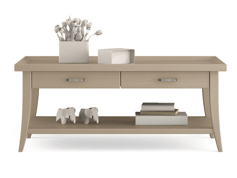 Low wooden coffee table with integrated magazine rack for living room ARCANDA | Coffee table by Scandola Mobili