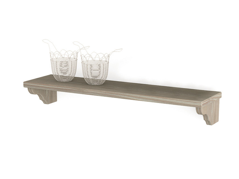 Spruce wall shelf Shelf with brackets by Scandola Mobili