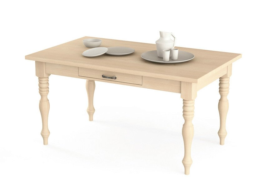 Rectangular wooden table with drawers TABIÀ | Table with drawers by Scandola Mobili