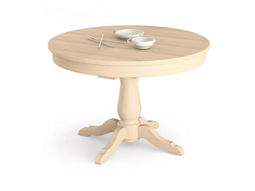 Extending round wooden table Round table by Scandola Mobili