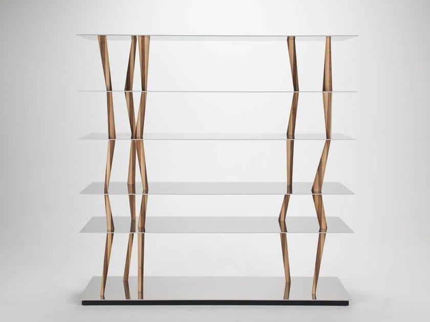Aluminium and wood bookcase SENDAI by Casamania & Horm
