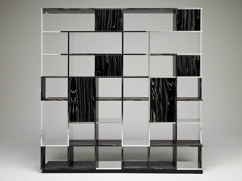 Aluminium and wood bookcase SUDOKU NEROBIANCO by Casamania & Horm