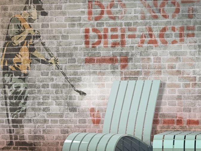 Brick effect vinyl wallpaper GUERILLART by GLAMORA