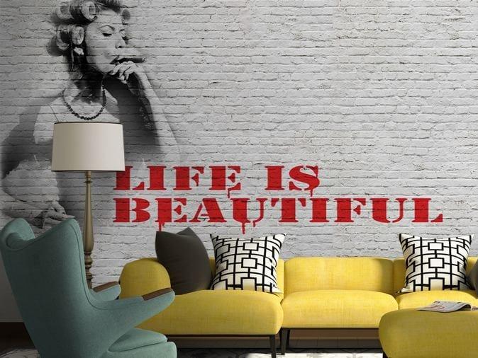 Brick effect vinyl wallpaper LIFE! by GLAMORA