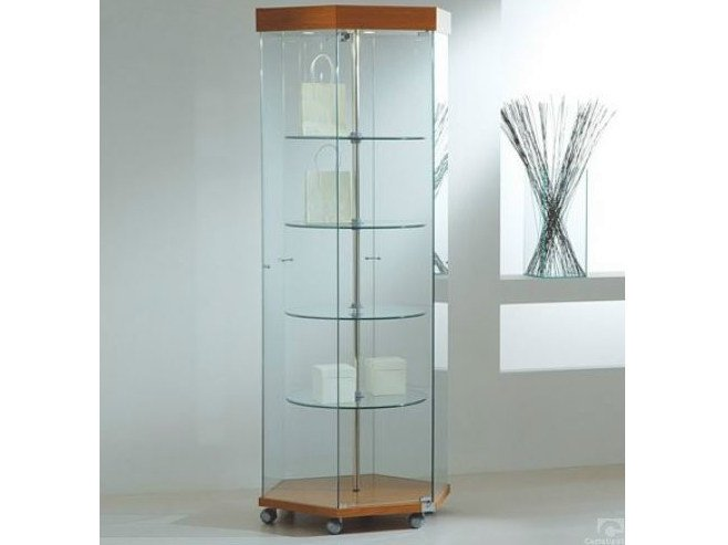 Retail display case with integrated lighting with rotating shelves with casters VE80180GE | Retail display case by Castellani.it