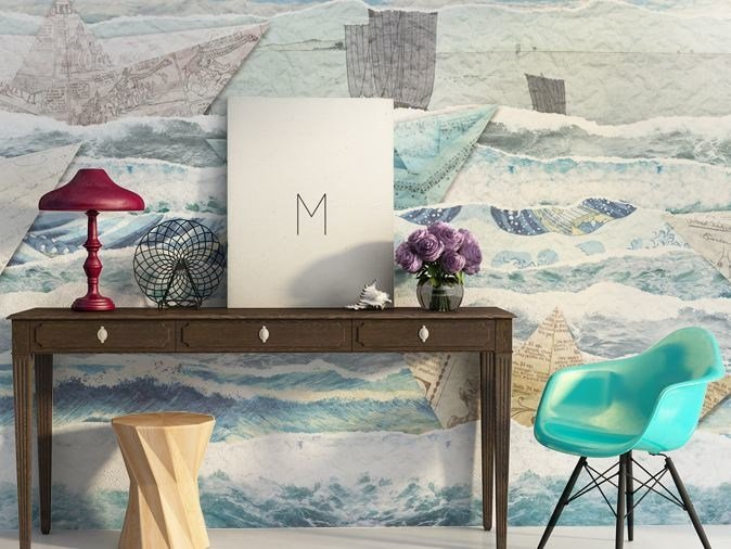 Vinyl wallpaper PAPER SHIP by GLAMORA