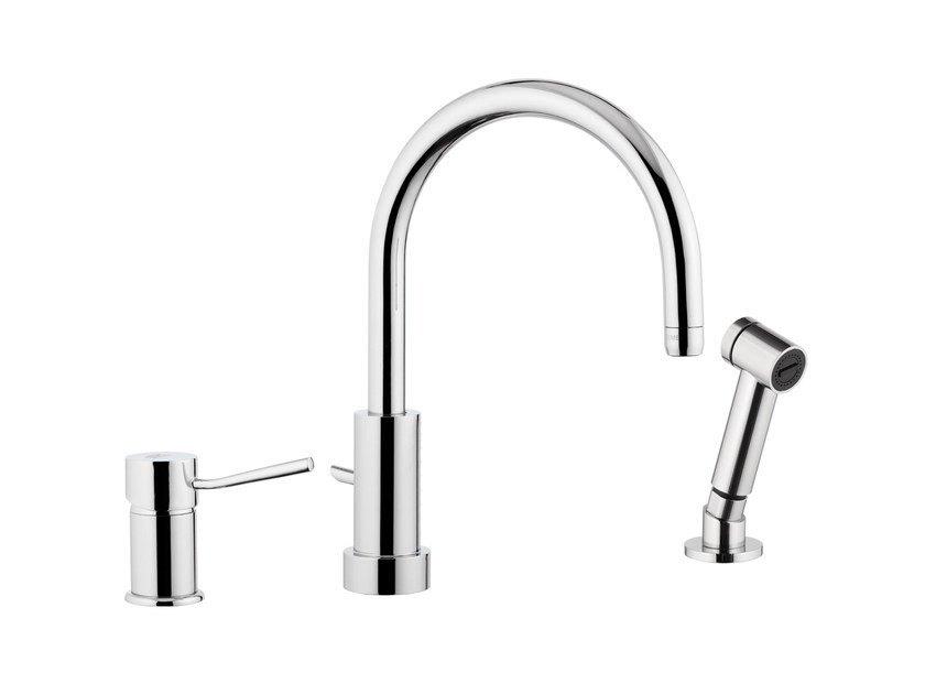 Countertop kitchen mixer tap with diverter with spray MINIMAL | Kitchen mixer tap with spray by Remer Rubinetterie
