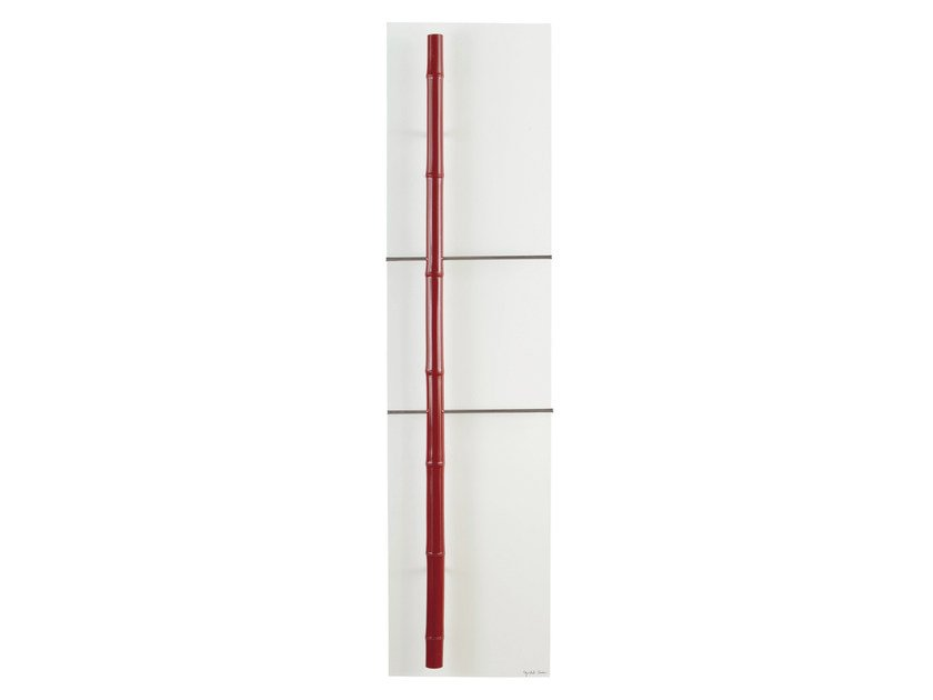 Vertical Olycale® towel warmer BAMBOU ROUGE by Cinier