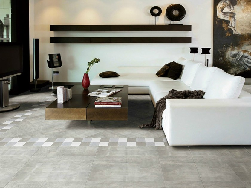 Glazed stoneware flooring with concrete effect AEGEAN CEMENT by ROMAX