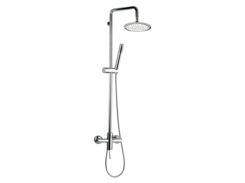 Wall-mounted chromed brass shower panel with hand shower MINIMAL | Wall-mounted shower panel by Remer Rubinetterie