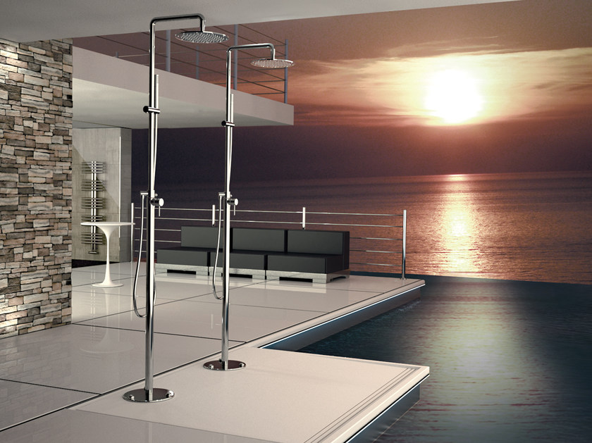 Floor standing chromed brass shower panel with diverter with overhead shower MINIMAL | Floor standing shower panel by Remer Rubinetterie