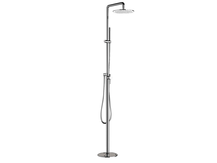 Floor standing chromed brass shower panel with diverter with hand shower Floor standing shower panel by Remer Rubinetterie
