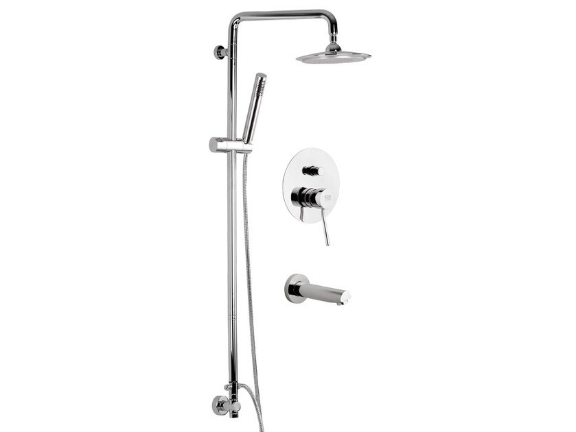 Built-in chromed brass shower panel with overhead shower MINIMAL | Built-in shower panel by Remer Rubinetterie