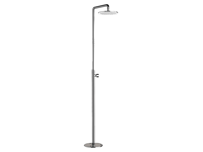 Floor standing chromed brass shower panel with overhead shower MINIMAL | Floor standing shower panel by Remer Rubinetterie