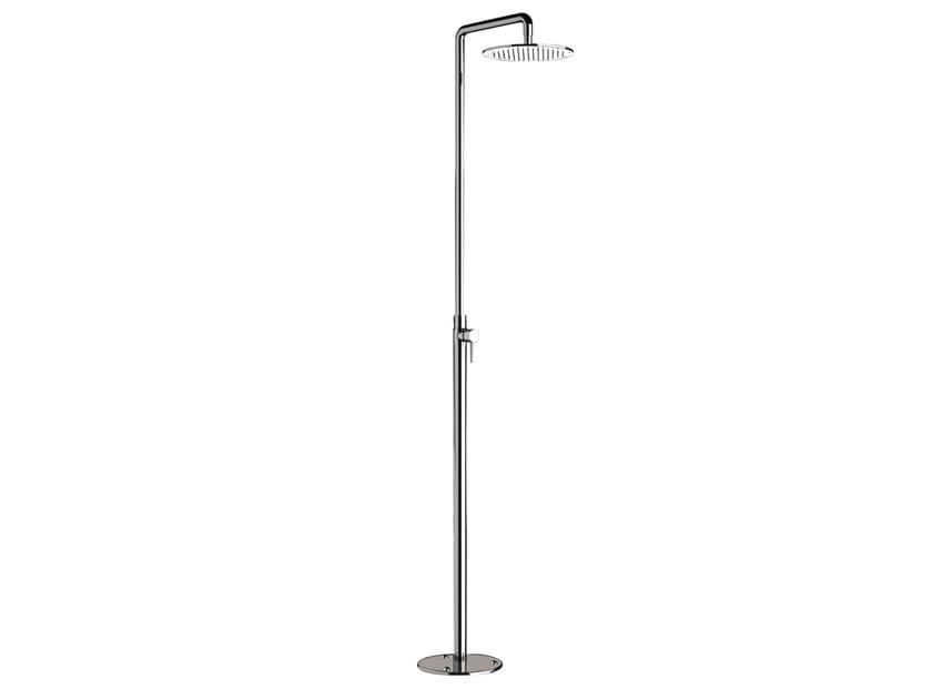Floor standing chromed brass shower panel with overhead shower MINIMAL | Floor standing shower panel by Remer Rubinetterie