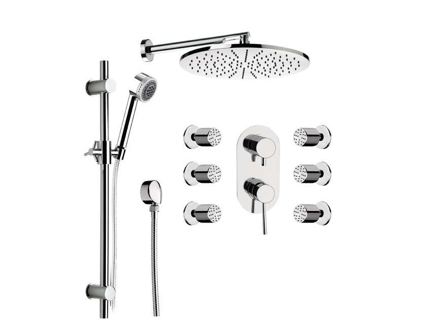 Shower mixer with overhead shower MINIMAL | Shower mixer by Remer Rubinetterie