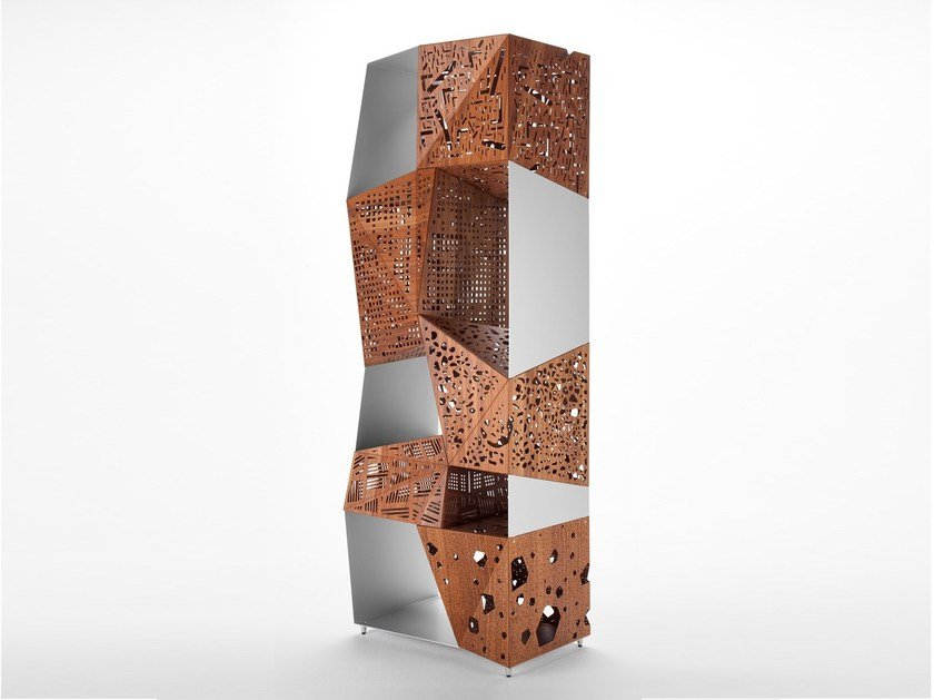 Aluminium and wood bookcase RIDDLED TOTEM by horm