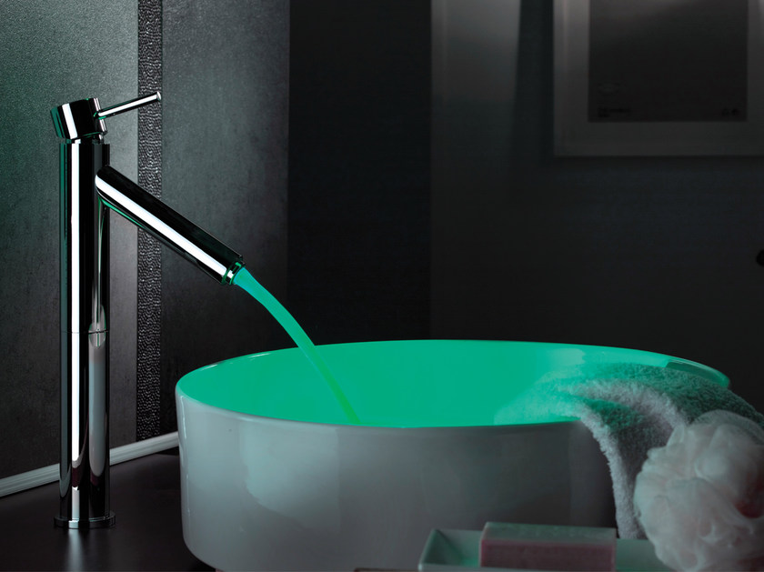 Countertop LED chromed brass washbasin mixer without waste MINIMAL COLOR | Washbasin mixer by Remer Rubinetterie