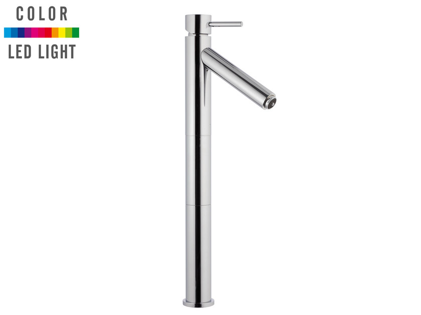 Countertop LED chromed brass washbasin mixer without waste MINIMAL COLOR | LED washbasin mixer by Remer Rubinetterie