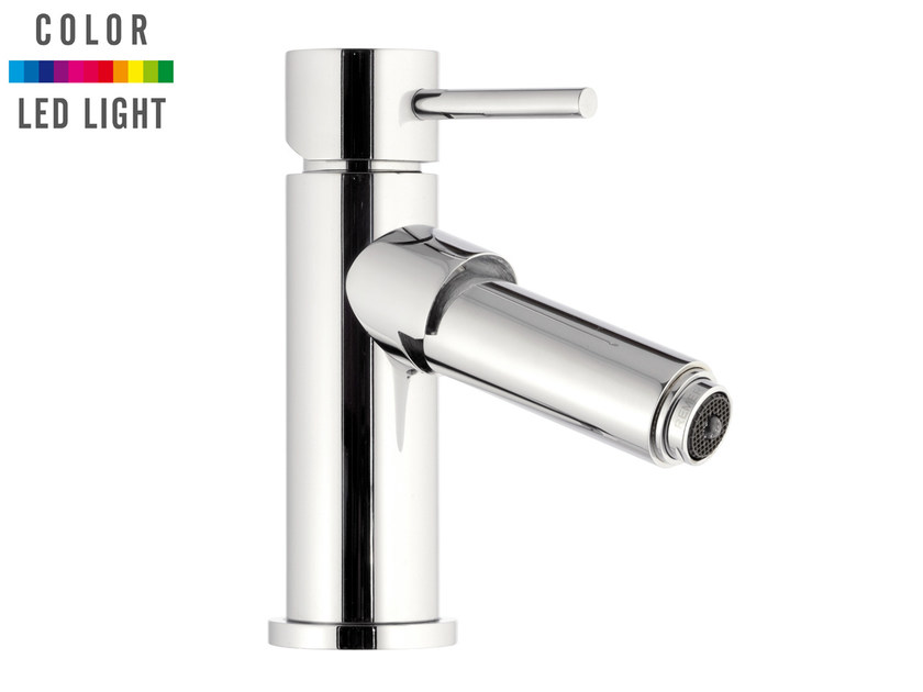 Countertop LED chromed brass bidet mixer without waste MINIMAL COLOR | Bidet mixer without waste by Remer Rubinetterie