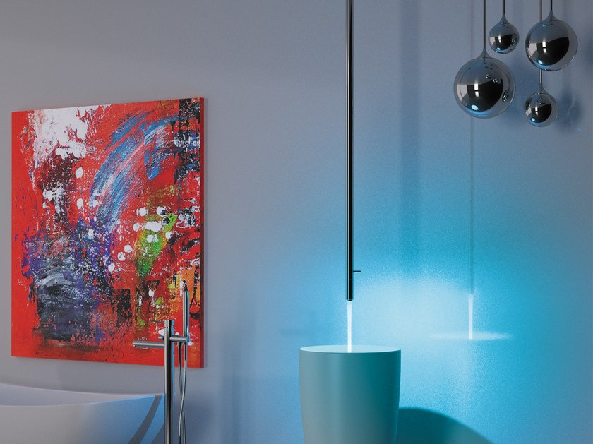 Ceiling mounted single handle chromed brass washbasin mixer MINIMAL COLOR   Washbasin mixer by Remer Rubinetterie