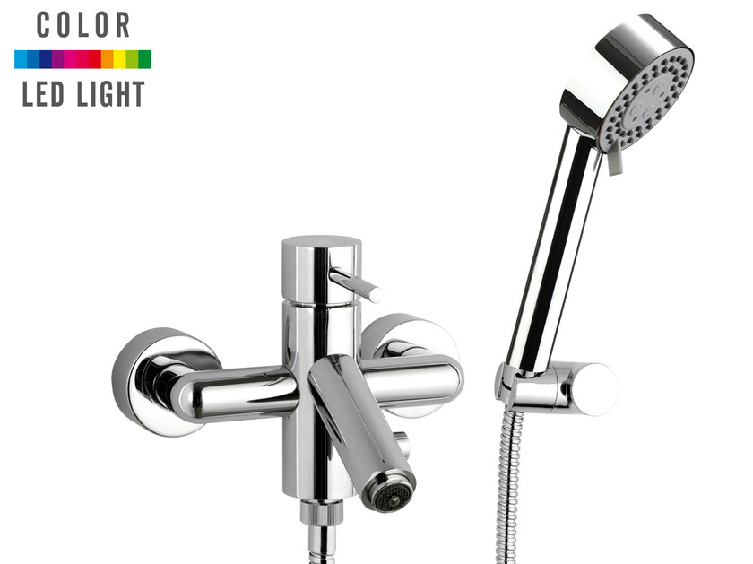 Wall-mounted LED bathtub mixer with hand shower MINIMAL COLOR | Bathtub mixer with hand shower by Remer Rubinetterie