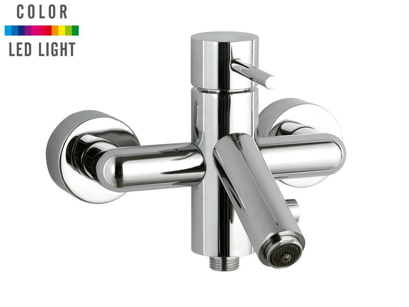 Wall-mounted chrome-plated LED bathtub mixer MINIMAL COLOR | Bathtub mixer by Remer Rubinetterie