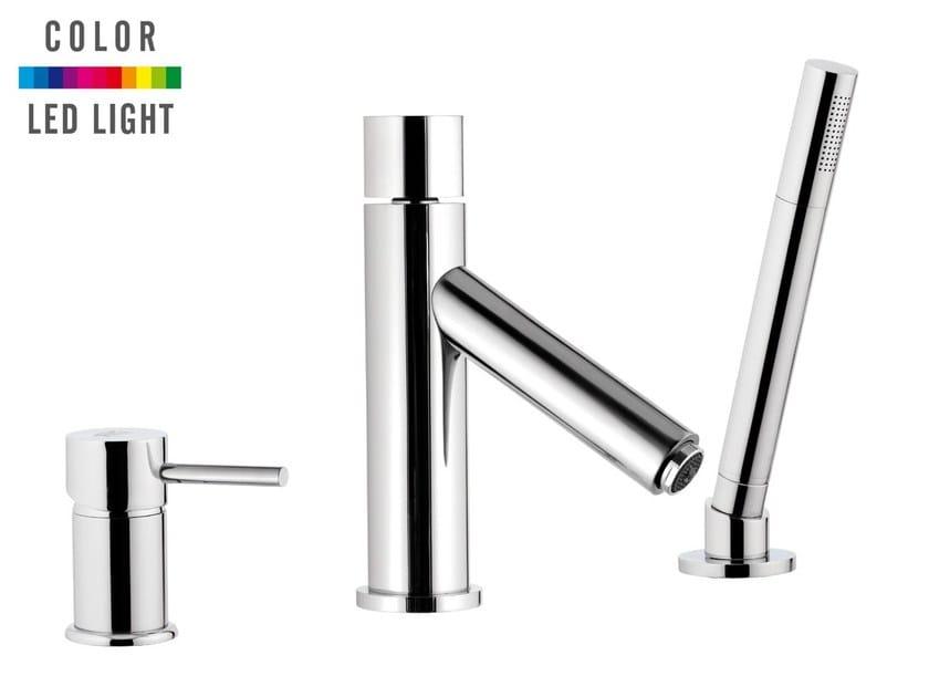 LED chromed brass bathtub set with hand shower MINIMAL COLOR   Bathtub set by Remer Rubinetterie