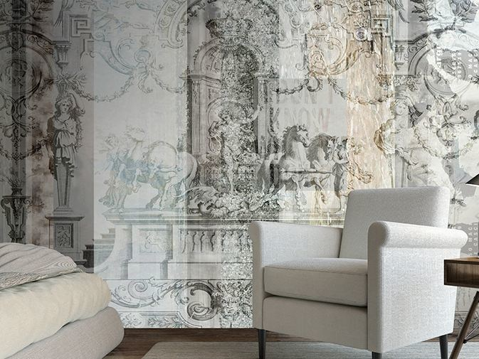 Motif vinyl wallpaper WHITE & GOLD by GLAMORA