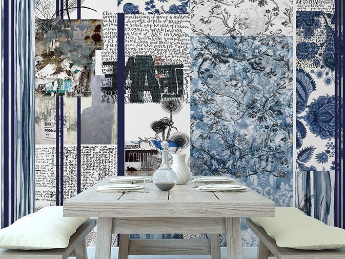 Writing vinyl wallpaper with floral pattern TURQUOISE CRUSH by GLAMORA
