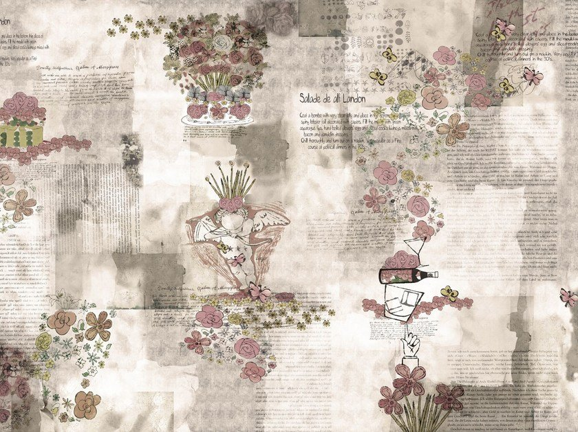 Writing vinyl wallpaper with floral pattern ARTPOP by GLAMORA