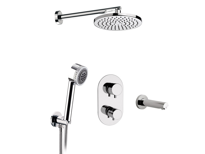 Chromed brass thermostatic shower mixer with diverter MINIMAL THERMO | Thermostatic shower mixer with diverter by Remer Rubinetterie