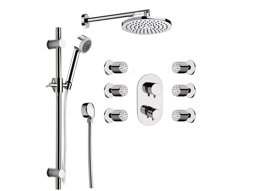 Chromed brass shower wallbar with hand shower with overhead shower MINIMAL THERMO | Shower wallbar by Remer Rubinetterie