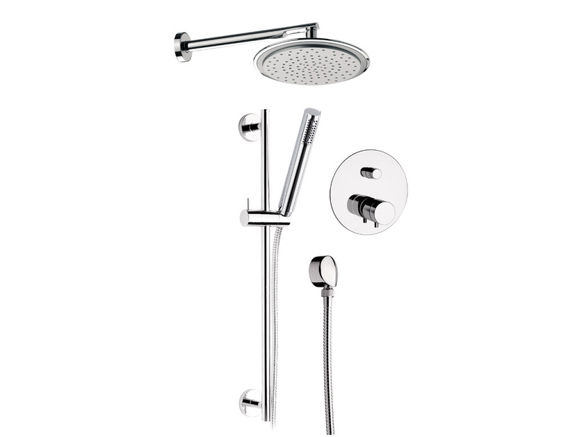 Chromed brass shower wallbar with hand shower with mixer tap MINIMAL THERMO | Shower wallbar with hand shower by Remer Rubinetterie