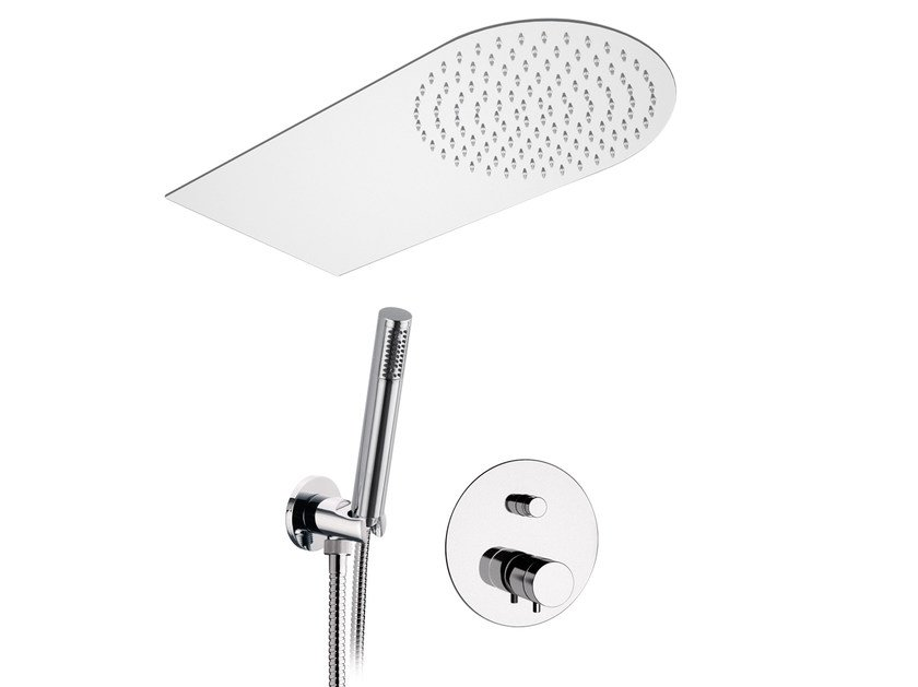 Chromed brass thermostatic shower mixer with hand shower MINIMAL THERMO | Chromed brass thermostatic shower mixer by Remer Rubinetterie
