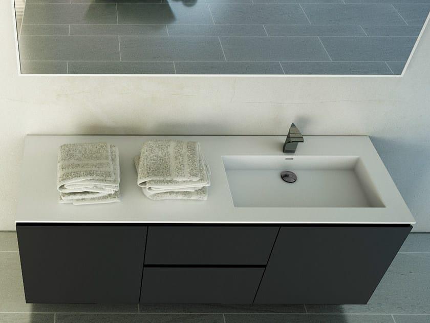 Rectangular washbasin with integrated countertop MODUL DESK 60 by DIMASI BATHROOM