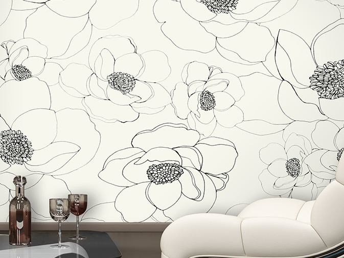 Vinyl wallpaper with floral pattern TOKYO WIND by GLAMORA