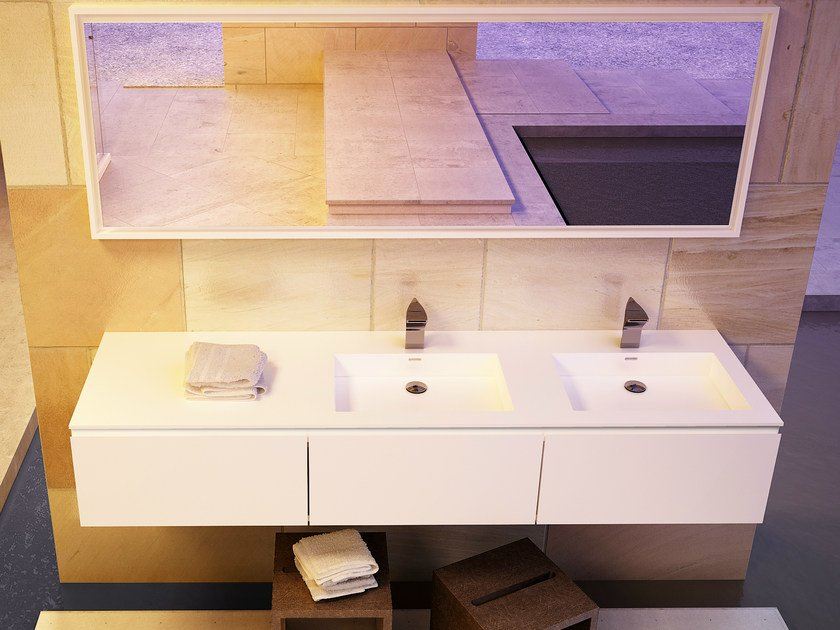 Double rectangular washbasin with integrated countertop MODULE DESK 50 D by DIMASI BATHROOM